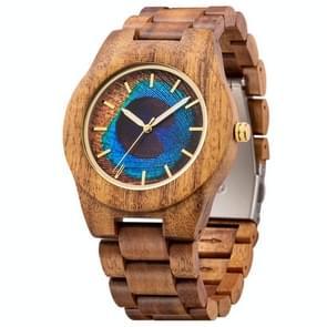 MUJUZE MU-1008 Mannen Houten Horloge Persoonlijkheid 3D Geprint patroon horloge (Acacia)