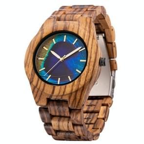 MUJUZE MU-1008 Mannen Houten Horloge Persoonlijkheid 3D Geprint patroon horloge (Zebra Wood)