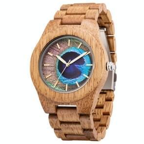 MUJUZE MU-1008 Mannen Houten Horloge Persoonlijkheid 3D Geprint patroon horloge (Mango Wood)