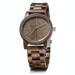 UWOOD UW1007 Houten horloge ronde digitale wijzerplaat Quartz Horloge (Walnoot)