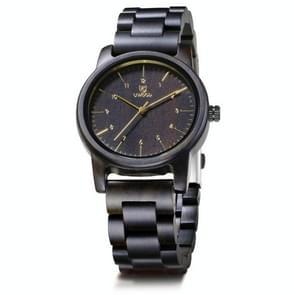 UWOOD UW1007 Houten horloge ronde digitale wijzerplaat Quartz Horloge (Ebbenhout)