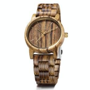 UWOOD UW1007 Houten horloge ronde digitale wijzerplaat Quartz Horloge (Zebra Hout)
