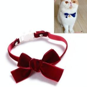5 PCS Velvet Bowknot Verstelbare Pet Collar Cat Dog Rabbit Bow Tie Accessoires  Maat: S 17-30cm  Style:Bowknot (Rood)
