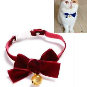 5 PCS Velvet Bowknot Verstelbare Pet Collar Cat Dog Rabbit Bow Tie Accessoires  Maat: S 17-30cm  Style:Bowknot with Bell(Red)
