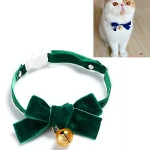 5 PCS Velvet Bowknot Verstelbare Pet Collar Cat Dog Rabbit Bow Tie Accessoires  Maat: S 17-30cm  Style:Bowknot with Bell(Green)