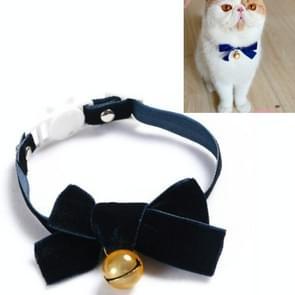 5 PCS Velvet Bowknot Verstelbare Pet Collar Cat Dog Rabbit Bow Tie Accessoires  Maat: S 17-30cm  Style:Bowknot with Bell(Blue)