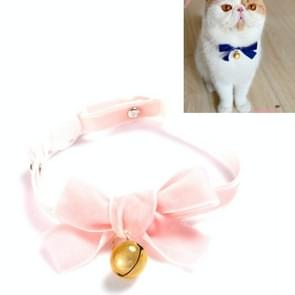 5 PCS Velvet Bowknot Verstelbare Pet Collar Cat Dog Rabbit Bow Tie Accessoires  Maat: S 17-30cm  Style:Bowknot with Bell(Pink)