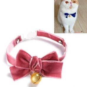 5 PCS Velvet Bowknot Verstelbare Pet Collar Cat Dog Rabbit Bow Tie Accessoires  Maat: S 17-30cm  Style:Bowknot met Bell (Bean Paste)