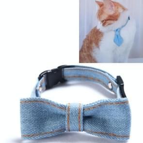 4 PCS Pet Cowboy Bow Tie Collar Cats Honden verstelbare tie collars huisdier accessoires benodigdheden  grootte: S 16-32cm  Stijl: Big Bowknot (Lichtblauw)