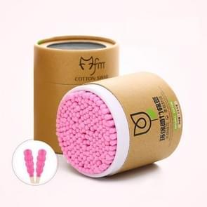 200PCS/Box bamboe katoen wattenstaafje hout sticks zachte katoen pad (roze)