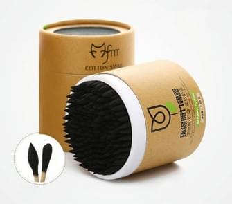 200PCS/Box  Bamboo Cotton Swab Wood Sticks Soft Cotton Pad(Black)