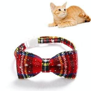 5 PCS Snowflake Christmas Red Plaid Verstelbaable Pet Bow Tie Bow Knot Cat Dog Collar  Maat: S 17-30cm  Style:Big Bowknot