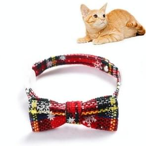 5 PCS Snowflake Christmas Red Plaid Verstelbaable Pet Bow Tie Bow Knot Cat Dog Collar  Maat:S 17-30cm  Style:Small Bowknot