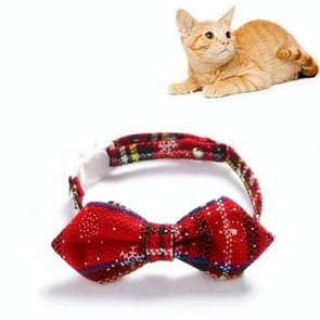 5 PCS Snowflake Christmas Red Plaid Verstelbaable Pet Bow Tie Bow Knot Cat Dog Collar  Maat: S 17-30cm  Style:Pointed Bowknot
