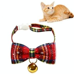 5 PCS Snowflake Christmas Red Plaid Verstelbaable Pet Bow Tie Bow Knot Cat Dog Collar  Maat: S 17-30cm  Style:Big Bowknot With Bell