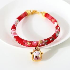 4 PCS Lucky Cat Copper Bell Verstelbare Pet Cat Dog Collar ketting  Maat:M 25-30cm (Rode Bloemen)