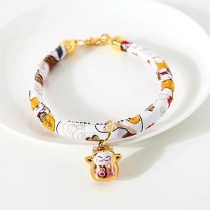 4 PCS Lucky Cat Copper Bell verstelbare Pet Cat Dog Collar ketting  Grootte: M 25-30cm (Witte Shiba Inu)