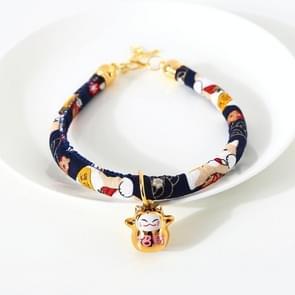 4 PCS Lucky Cat Copper Bell Verstelbare Pet Cat Dog Collar ketting  Grootte: M 25-30cm (Navy Shiba Inu)