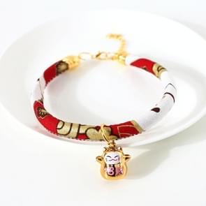 4 PCS Lucky Cat Copper Bell Verstelbare Pet Cat Dog Collar ketting  Maat:M 25-30cm (Rode Kat)