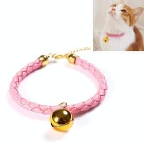 4 PCS bereid PU Leer verstelbare Pet Bell Collar Cat Dog Konijn eenvoudige kraag ketting  maat: M 25-30cm (Roze)