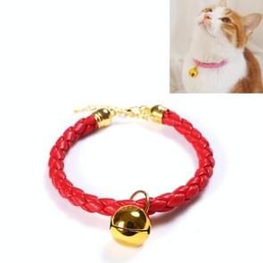 4 PC's bereid PU leer verstelbare pet bell halsband kat konijn eenvoudige kraag ketting  grootte: M 25-30cm (rood)