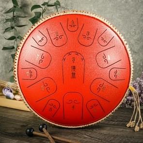 15-Tone Ethereal Drum 14-inch Steel Tongue Drum Hollow Drum Sanskrit Drummer Disc (Rood)