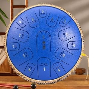 15-Tone Ethereal Drum 14-inch Steel Tongue Drum Hollow Drum Sanskrit Drummer Disc (Blauw)