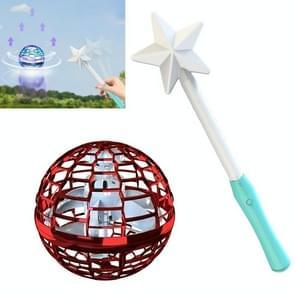 Flynova Pro Magic Flying Ball Gyro Aircraft kan draaien creatieve decompressie speelgoed  kleur: Rood met toverstaf