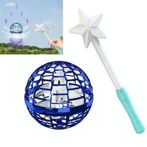 Flynova Pro Magic Flying Ball Gyro Aircraft kan draaien creatieve decompressie speelgoed  kleur: Blauw met toverstaf