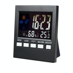 HTC-1 Huishouden Thermometer en Hygrometer Kleurenscherm Weerstation Thermometer Electronic Clock Alarm (Zwart)