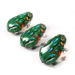 3 PCS Classic Metal Frog Clockwork Toy Children Nostalgic Jumping Frog Toy(Green)