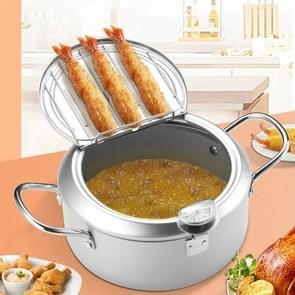24cm Fryer Pot huishouden non-stick pan temperatuurregeling mini frituurpot (zilver)