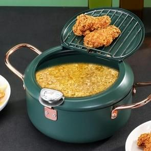 20cm Fryer Pot huishouden non-stick pan temperatuurregeling mini frituurpot (olijfgroen)