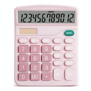 Aruida 2 PCS Solar 12-cijferige Display Calculator Business Calculator voor Financial Office (Roze)