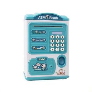 Simulatie wachtwoord vingerafdruksensor ontgrendelen Money Box Automatische Roll Geld Veilig ATM Spaarpot (Blauw)