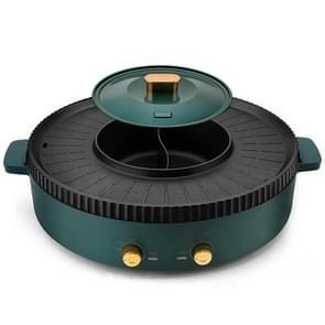 Household Hot Pot Rinse Gegrilde Dual-Purpose Pot  CN Plug (Small Spruce Green)