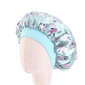 3 PCS K-14 Kinderen gedrukt Satin Nightcap verstelbare Stretch Hair Care Hat Douche cap  grootte: One Size (Groen)