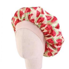 3 PCS K-14 Kinderen gedrukt Satin Nightcap verstelbare Stretch Hair Care Hat Shower Cap  Grootte: One Size (Beige Watermeloen)