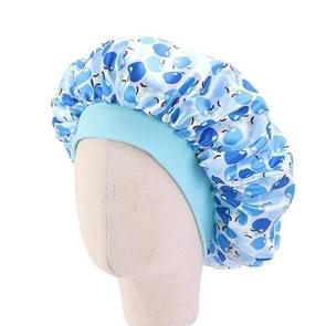 3 PCS K-14 Kinderen gedrukt Satin Nightcap verstelbare Stretch Hair Care Hat douche cap  grootte: One Size (Apple Blue)