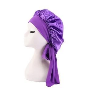 3 PCS TJM-301-1 Faux Silk Verstelbare Stretch Wide-Brimmed Night Hat Satin Ribbon Round Hat Shower Cap Hair Care Hat  Maat: Free Size (Purple)