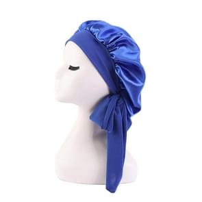 3 PCS TJM-301-1 Faux Silk Verstelbare Stretch Wide-Brimmed Night Hat Satin Ribbon Round Hat Shower Cap Hair Care Hat  Maat: Free Size (Royal Blue)