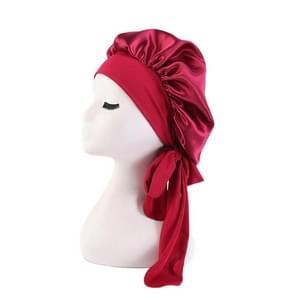 3 PCS TJM-301-1 Faux Zijde verstelbare stretch breed-brimmed Night Hat Satin lint ronde hoed douche cap hair care hoed  grootte: gratis maat (Rode wijn )