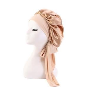 3 PCS TJM-301-1 Faux Silk Verstelbare Stretch Wide-Brimmed Night Hat Satin Ribbon Round Hat Shower Cap Hair Care Hat  Maat: Free Size (Khaki)