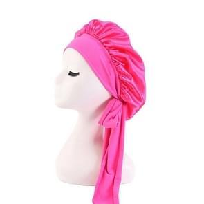 3 PCS TJM-301-1 Faux Silk Verstelbare Stretch Wide-Brimmed Night Hat Satin Ribbon Round Hat Shower Cap Hair Care Hat  Maat: Vrije maat (Rose Red)