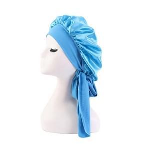 3 PCS TJM-301-1 Faux Silk Verstelbare Stretch Wide-Brimmed Night Hat Satin Ribbon Round Hat Shower Cap Hair Care Hat  Maat: Gratis maat (Hemelsblauw)