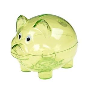 Transparant plastic geld besparen box case munten spaarpot cartoon varken vorm  grootte: 12x8x11cm (Groen)