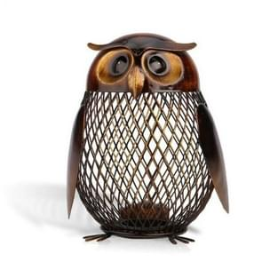 Owl Shape Metal Piggy Bank Coin Bank Money Saving Box Figurines Home Decoration(Brown)
