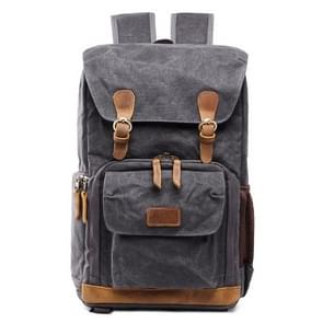 Batik Canvas Waterproof Photography Bag Outdoor Wear-resistant Large Camera Photo Backpack Men for Nikon / Canon / Sony / Fujifilm(Black Gray)