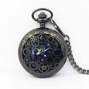 Klassieke mechanische Pocket Watch Grote Retro Gear Reliëf Hollow Pocket Watch (Zwart)