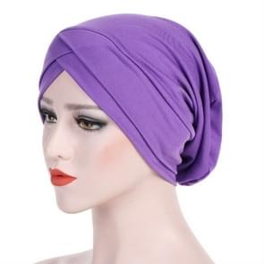 Modal Stretch Cloth Forehead Cross Headscarf Cap Chemotherapy Cap(Light Purple)